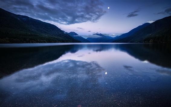 Fondos de pantalla EE.UU., Washington, parque nacional, bosque, montaña, lago, luz de la luna la noche