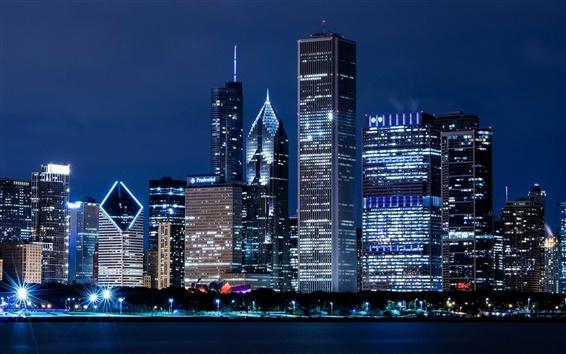 Обои США, Иллинойс, Чикаго, небоскребы, огни ночного города