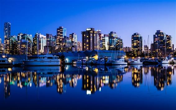 Papéis de Parede Vancouver, Canadá, noite da cidade, luzes, prédios, mar, iate, reflexão