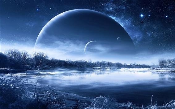 Обои Зимний снег озера деревья, планеты в небе, креативный дизайн
