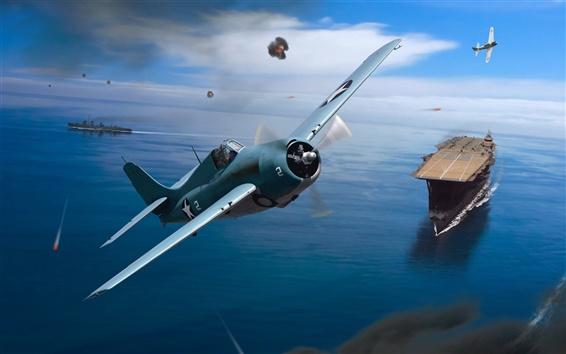 Wallpaper World War II, art drawing, fighter, aircraft carrier, sea, sky