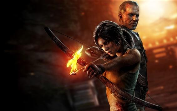 Hintergrundbilder 2013 Tomb Raider, Lara Croft, Feuer Bogen