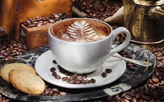 Fond d'écran Une tasse de cappuccino café, soucoupe, grain, biscuits