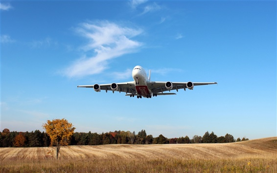 Wallpaper Airbus A380, Emirates Airline, Passenger Airplane, fields