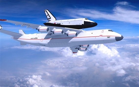 Wallpaper Antonov An-225 Mriya aircraft, blue sky