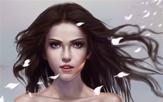 Wallpaper Art fantasy girl, petals flying
