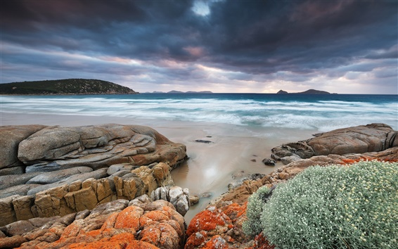 Wallpaper Australia, Wilsons Promontory, Whiskey Bay, sea, coast, rocks