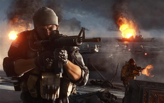 Wallpaper Battlefield 4, firefight at the warships
