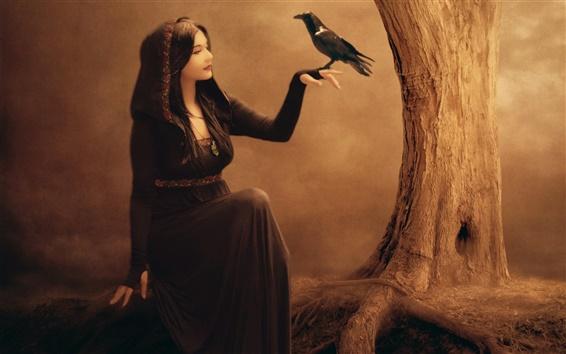 Обои Красивая девушка фантазии, ворон, дерева, ведьма, черное платье