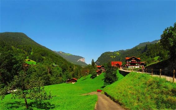 Papéis de Parede Bern Lauterbrunnen, Suíça, paisagens rurais, casas, árvores, montanhas