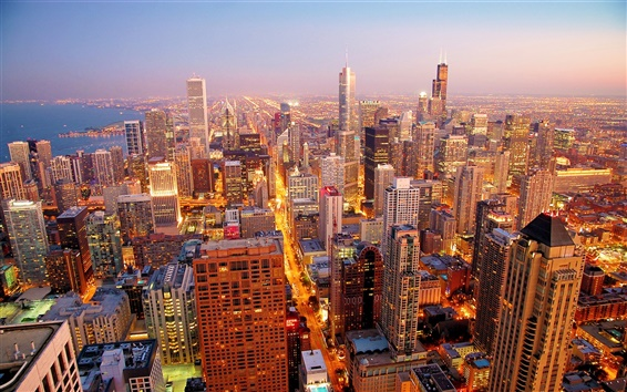 Wallpaper Chicago city at dawn
