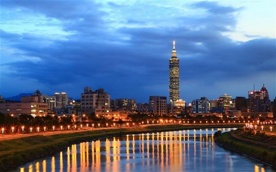 Wallpaper City night of Taipei, river, buildings, lights