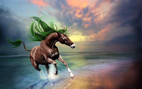 Wallpaper Creative design pictures, brown unicorn, beach, sunset