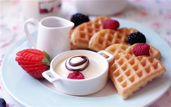 Wallpaper Delicious breakfast, fruit, waffles, strawberries, dessert