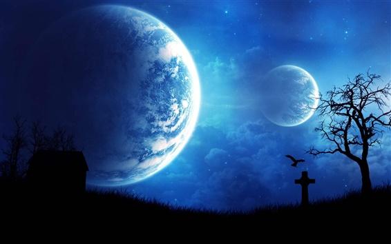 Fond d'écran Design Art, maison, corneille, planètes, bleu nuit