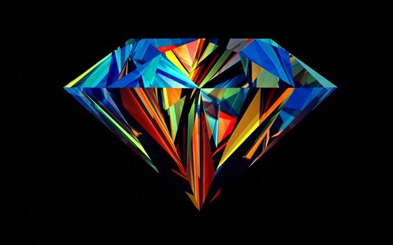 Wallpaper Diamond beautiful colors, black background