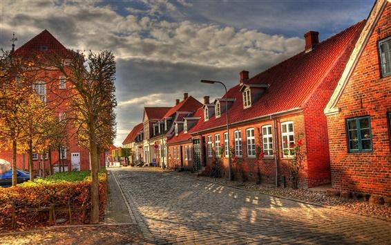 Fond d'écran Bâtiments européens, des maisons, des rues, matin d'automne