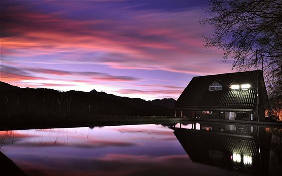 Wallpaper Evening dusk, house, lake, lights, reflection