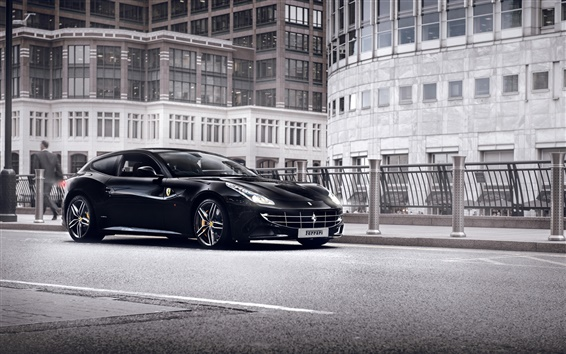 Wallpaper Ferrari FF black supercar at city street