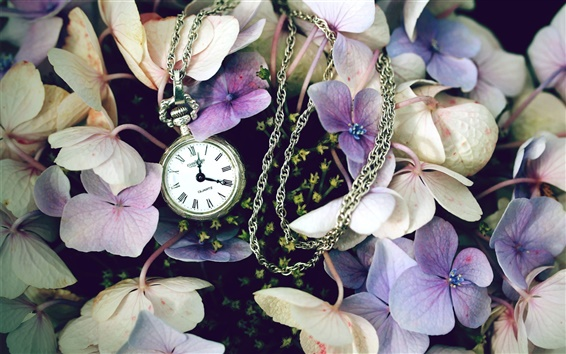 Wallpaper Flowers with a watch