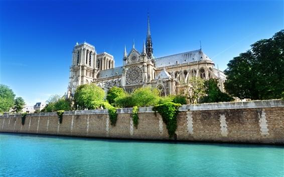 Wallpaper France, Paris, Notre Dame, the Seine river, water, blue sky, summer