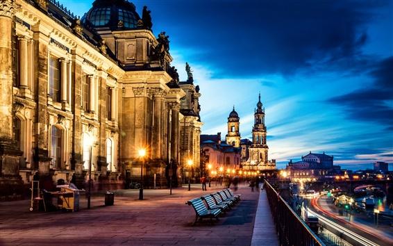 Wallpaper Germany, Altstadt, Dresden, city, street, benches, road, buildings, lights, evening