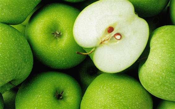 Wallpaper Green apple fruit close-up photography