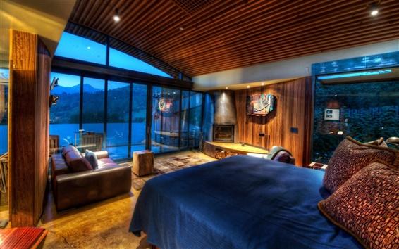 Fondos de pantalla Diseño del hogar, dormitorio, cama, sofá, paredes de madera, ventanas, luces