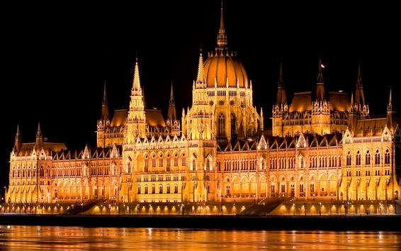 Fond d'écran Hongrie, Budapest, parlement, nuit, lumières, l'eau, le fleuve Danube