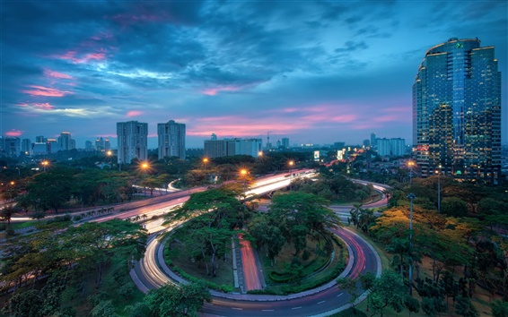 Fond d'écran Indonésie, Jakarta ville, maisons, bâtiments, gratte-ciel, la nuit, la route, les feux