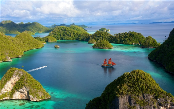 Wallpaper Indonesia beautiful islands scenery, water, ship, blue sky, clouds, sea