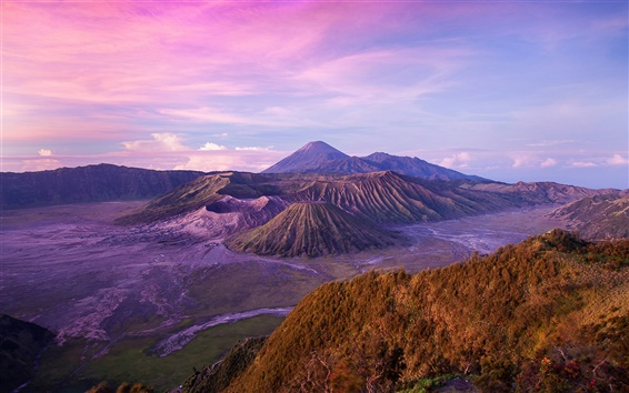 Fondos de pantalla Paisaje de Indonesia, la isla de Java, Volcán, Anochecer