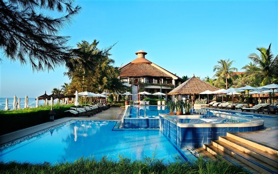 Wallpaper Interior, pool, house, palm trees, sea, sun loungers, chairs, tables