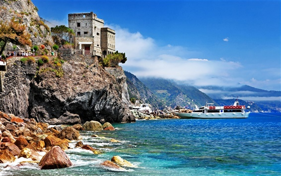 Wallpaper Italy, Monterosso al Mare, Cinque Terre, rocks, castle, boat, sea, beach