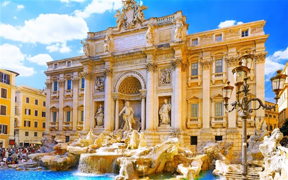 Wallpaper Italy, Rome, palace, Trevi fountain