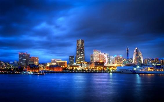 Papéis de Parede Japão, Yokohama, Kanagawa, cidade à noite, roda gigante, arranha-céus, luzes