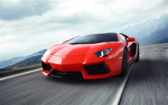 Wallpaper Lamborghini Aventador red supercar in the highway