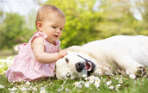 Wallpaper Little beautiful girl with dog