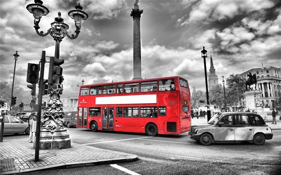 壁紙 ロンドン、イングランド、ストリート、赤バス、道路、都市