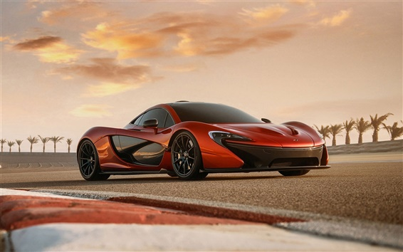 Wallpaper McLaren P1 orange supercar