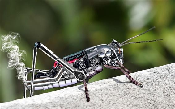 壁紙 金属ロボットバッタ