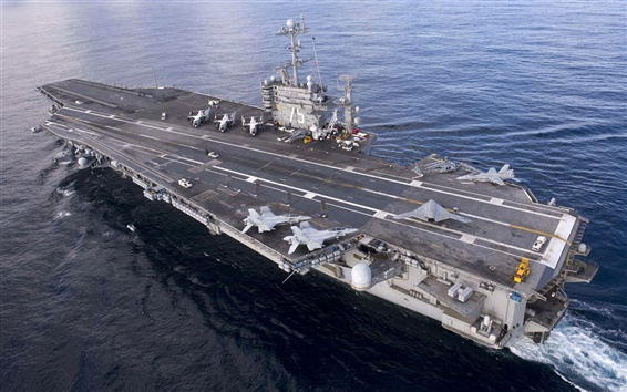 Wallpaper Navy, top view the aircraft carrier Harry Truman