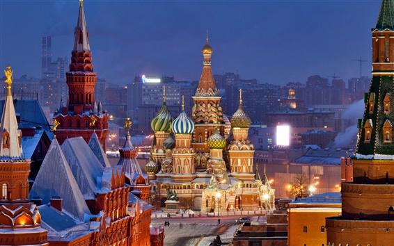 배경 화면 모스크바의 밤 도시