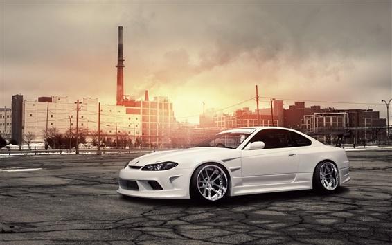 Wallpaper Nissan Silvia S15 white car