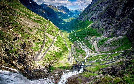Wallpaper Norway, Trollstigen, winding road