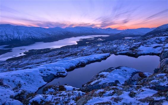 Fond d'écran Norvège paysage d'hiver, montagnes, coucher du soleil, de la neige