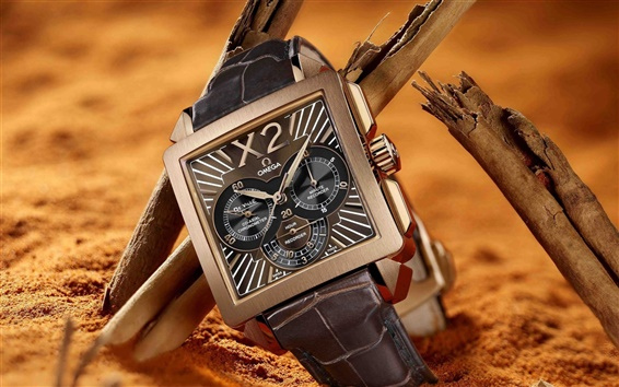 Wallpaper Omega watch, macro photography
