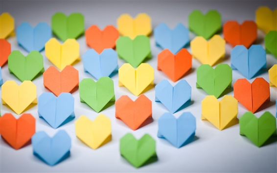 Fondos de pantalla Arte de papel, del amor-corazón origami, colorido