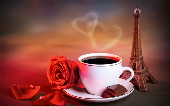 Wallpaper Red rose, cup of coffee, love hearts, warm style