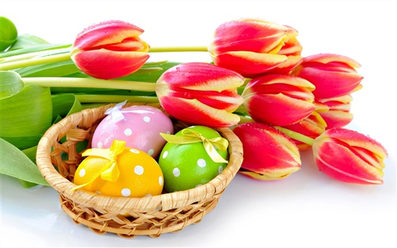 Wallpaper Red tulips flower with Easter eggs